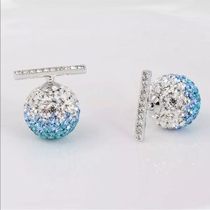 3 For $18 Silver Blue & White Rhinestone Earrings